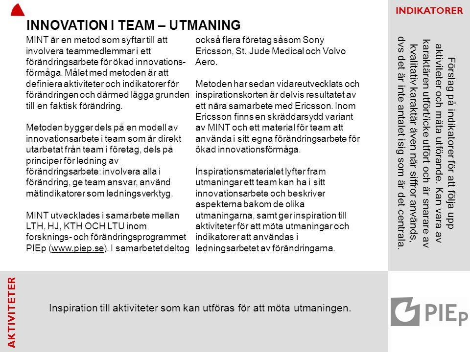 AKTIVITETER INDIKATORER Etablerad processmodell för innovation.Antal tillfällen då processmodelen kommuniceras iorganisationen.