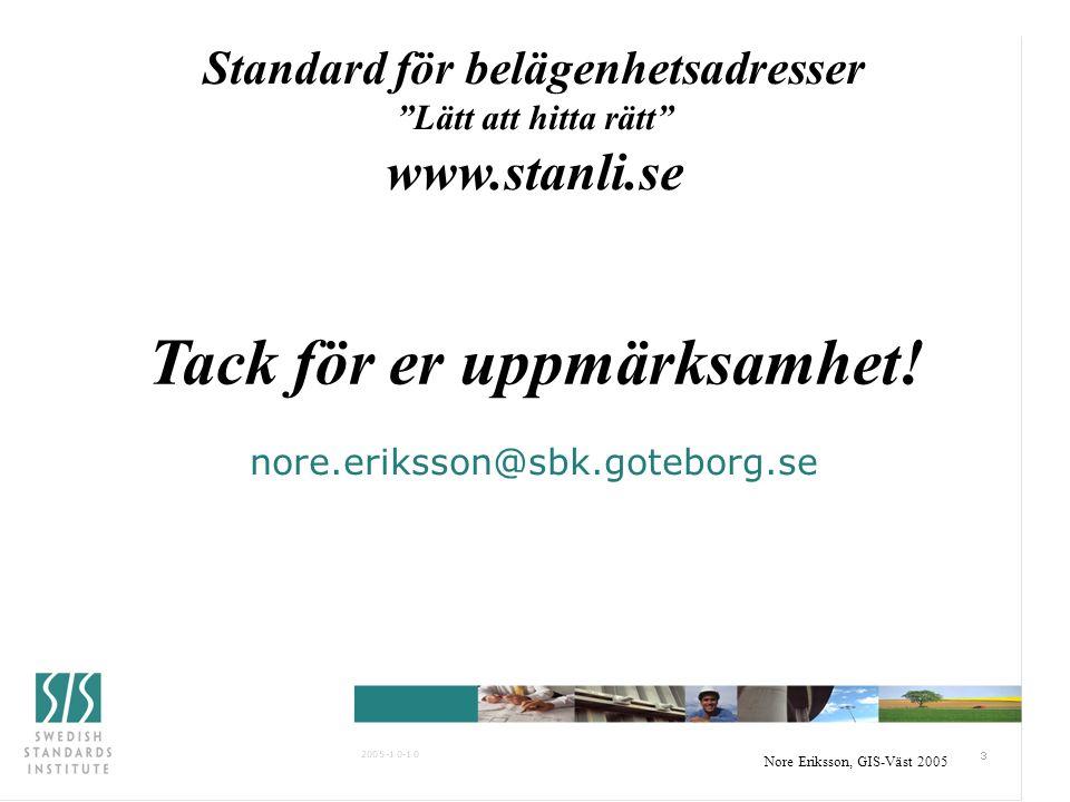 Nore Eriksson, GIS-Väst 2005 Standard för belägenhetsadresser Lätt att hitta rätt www.stanli.se Tack för er uppmärksamhet.