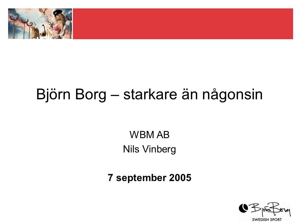 WBM i korthet Starkt varumärke WBM ska lönsamt utveckla, driva och exploatera varumärket Björn Borg på en internationell modemarknad Egen kontroll och effektivt nätverk Varumärkesföretag med produktutveckling och distribution i nätverk Fem produktområden, sju länder Tillväxt under lönsamhet Omsättning 2004 cirka 122 MSEK med en rörelse- marginal om cirka 10 % Närmare 630 MSEK i försäljning till konsument