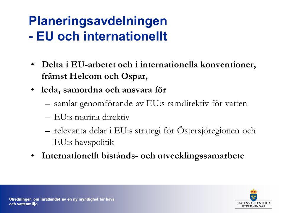 Utredningen om inrättandet av en ny myndighet för havs- och vattenmiljö Planeringsavdelningen - EU och internationellt Delta i EU-arbetet och i internationella konventioner, främst Helcom och Ospar, leda, samordna och ansvara för –samlat genomförande av EU:s ramdirektiv för vatten –EU:s marina direktiv –relevanta delar i EU:s strategi för Östersjöregionen och EU:s havspolitik Internationellt bistånds- och utvecklingssamarbete