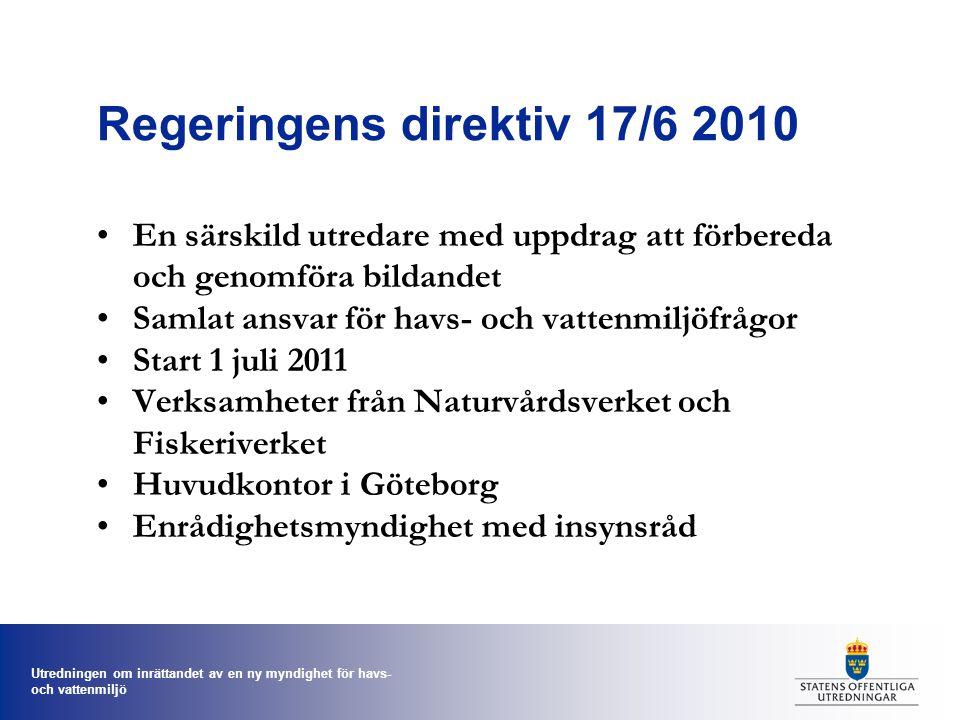 Utredningen om inrättandet av en ny myndighet för havs- och vattenmiljö Regeringens direktiv 17/6 2010 En särskild utredare med uppdrag att förbereda och genomföra bildandet Samlat ansvar för havs- och vattenmiljöfrågor Start 1 juli 2011 Verksamheter från Naturvårdsverket och Fiskeriverket Huvudkontor i Göteborg Enrådighetsmyndighet med insynsråd