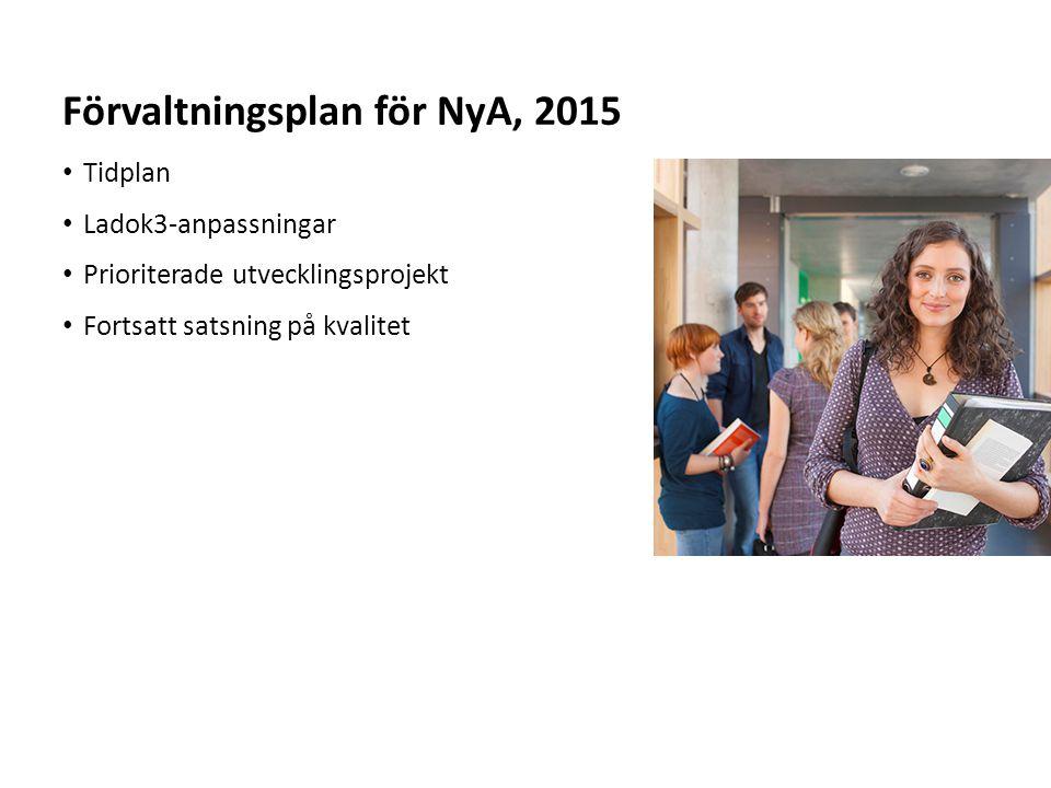 Sv Tidplan Ladok3-anpassningar Prioriterade utvecklingsprojekt Fortsatt satsning på kvalitet Förvaltningsplan för NyA, 2015
