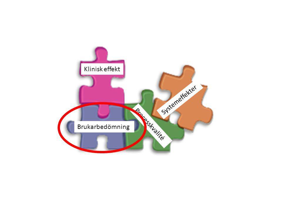 Klinisk effekt Brukarbedömning Systemeffekter Processkvalité
