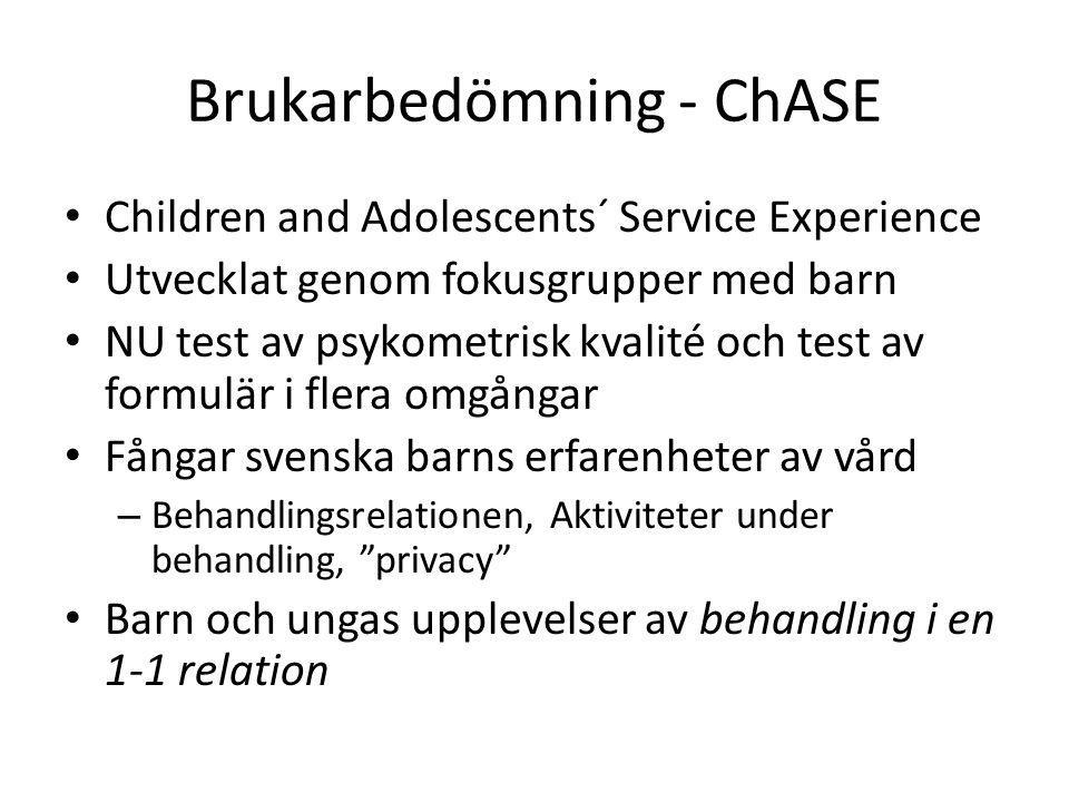 Pilotstudien ChASE Instrumenten förefaller välfungerande Curt Hagquist, Karlstads Universitet, har fått i uppdrag att hämta hem instrumenten – Översättning – tillbakaöversättning – Frågediskussion – en adekvat svensk version – Intervjuer med barn och unga resp.