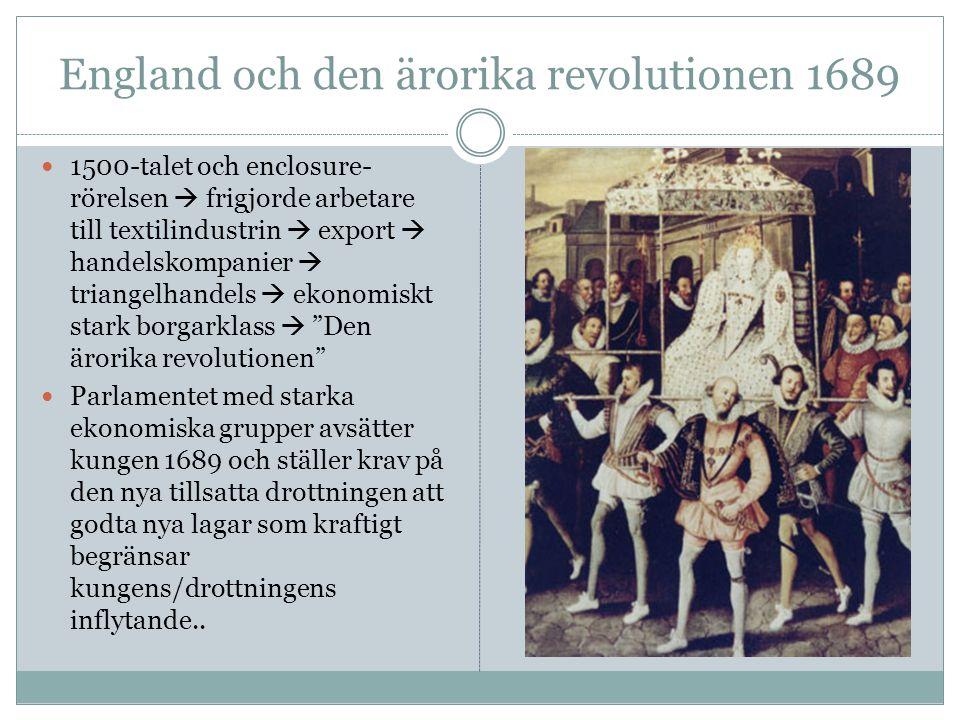 England och den ärorika revolutionen 1689 1500-talet och enclosure- rörelsen  frigjorde arbetare till textilindustrin  export  handelskompanier  t