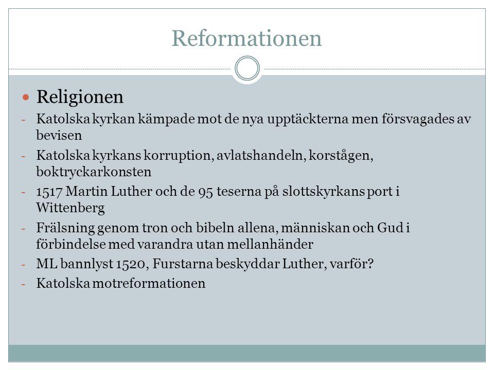 Reformationen Religionen - Katolska kyrkan kämpade mot de nya upptäckterna men försvagades av bevisen - Katolska kyrkans korruption, avlatshandeln, ko