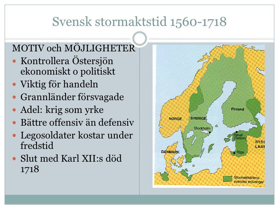 Svensk stormaktstid 1560-1718 MOTIV och MÖJLIGHETER Kontrollera Östersjön ekonomiskt o politiskt Viktig för handeln Grannländer försvagade Adel: krig