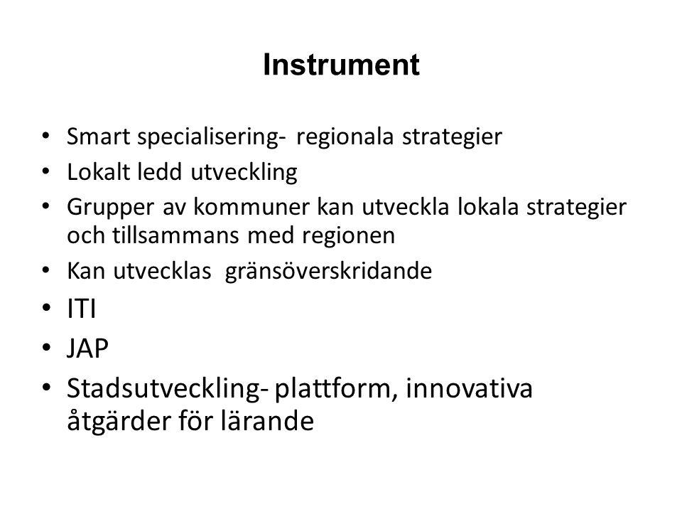 Instrument Smart specialisering- regionala strategier Lokalt ledd utveckling Grupper av kommuner kan utveckla lokala strategier och tillsammans med regionen Kan utvecklas gränsöverskridande ITI JAP Stadsutveckling- plattform, innovativa åtgärder för lärande