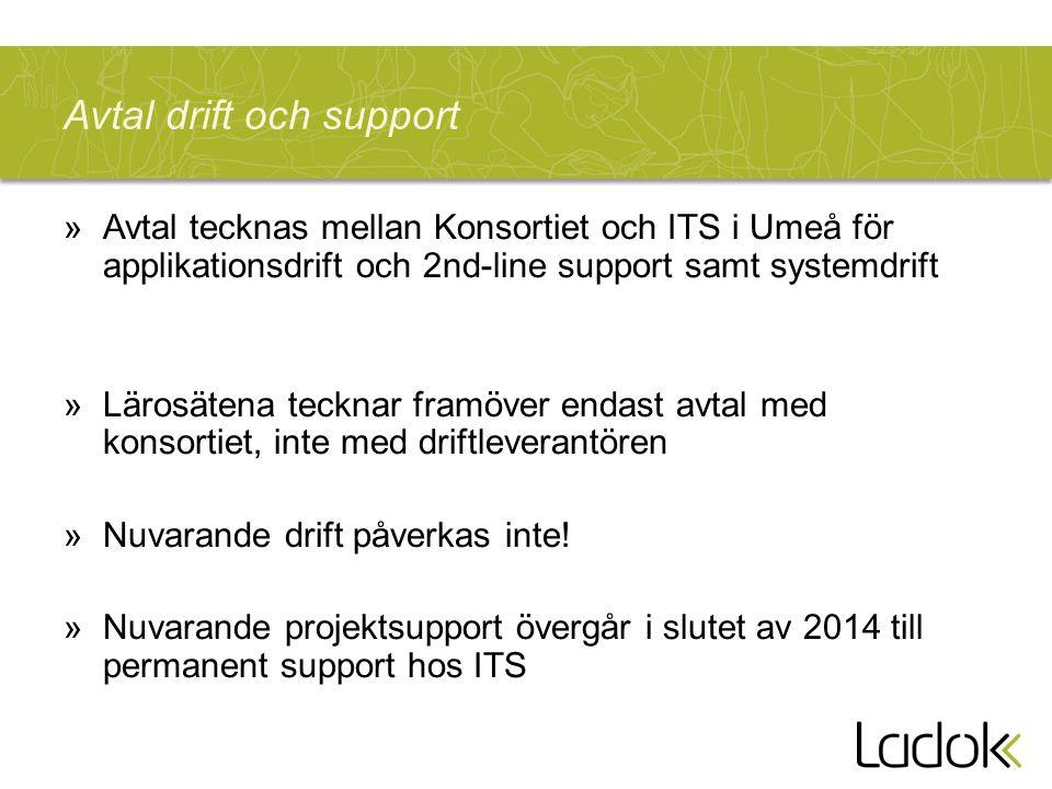 Avtal drift och support »Avtal tecknas mellan Konsortiet och ITS i Umeå för applikationsdrift och 2nd-line support samt systemdrift »Lärosätena tecknar framöver endast avtal med konsortiet, inte med driftleverantören »Nuvarande drift påverkas inte.