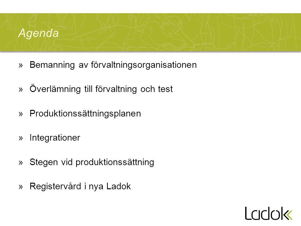 Agenda »Bemanning av förvaltningsorganisationen »Överlämning till förvaltning och test »Produktionssättningsplanen »Integrationer »Stegen vid produktionssättning »Registervård i nya Ladok