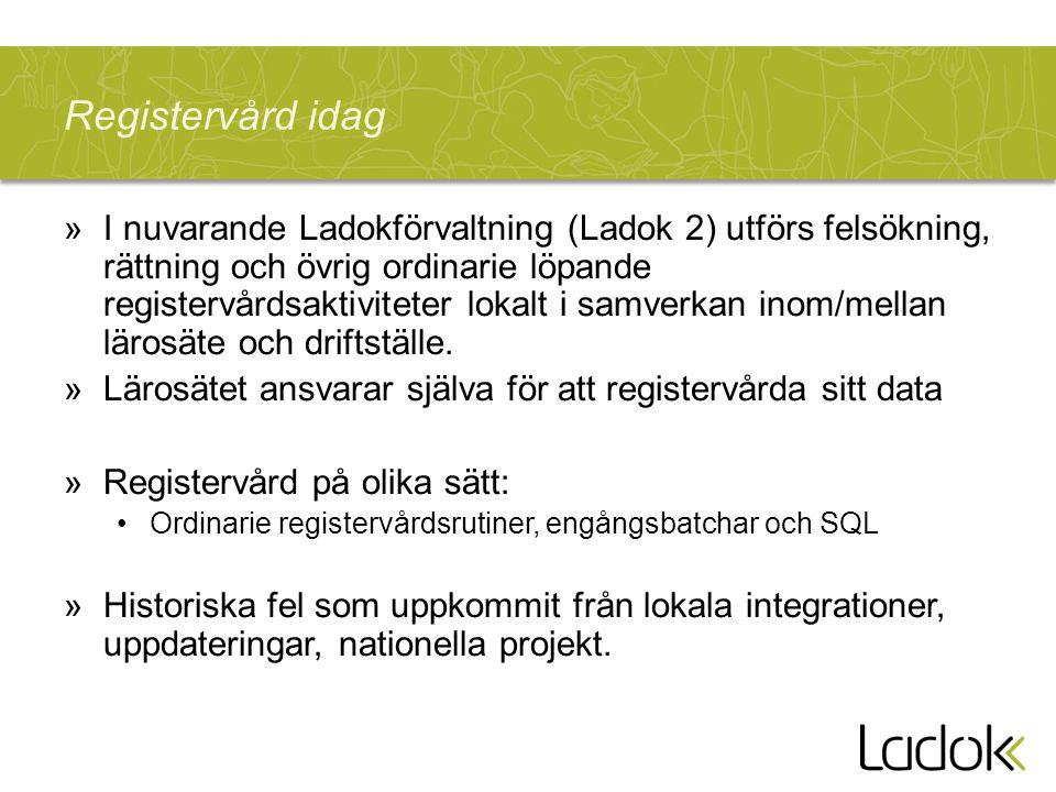 Registervård idag »I nuvarande Ladokförvaltning (Ladok 2) utförs felsökning, rättning och övrig ordinarie löpande registervårdsaktiviteter lokalt i samverkan inom/mellan lärosäte och driftställe.