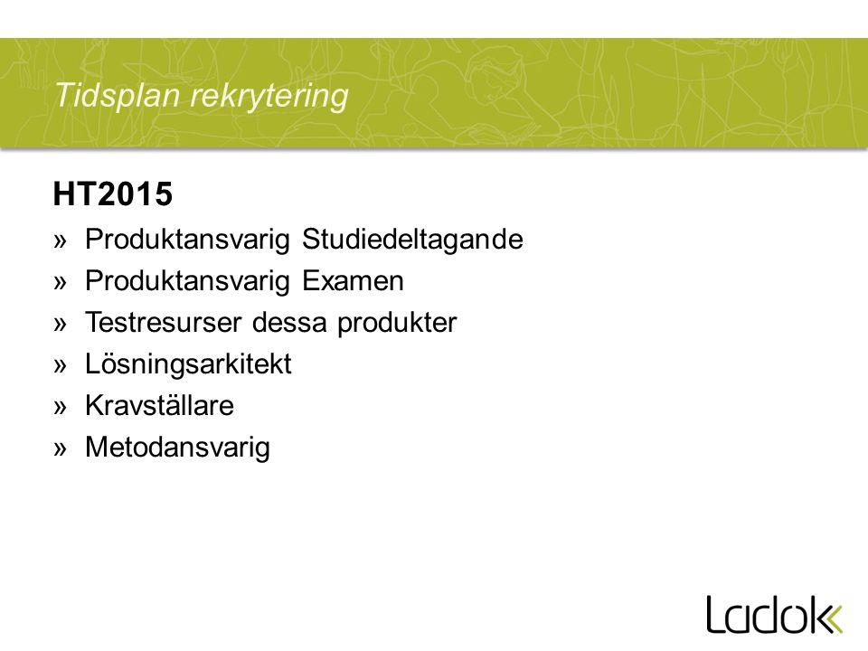 Tidsplan rekrytering HT2015 »Produktansvarig Studiedeltagande »Produktansvarig Examen »Testresurser dessa produkter »Lösningsarkitekt »Kravställare »Metodansvarig