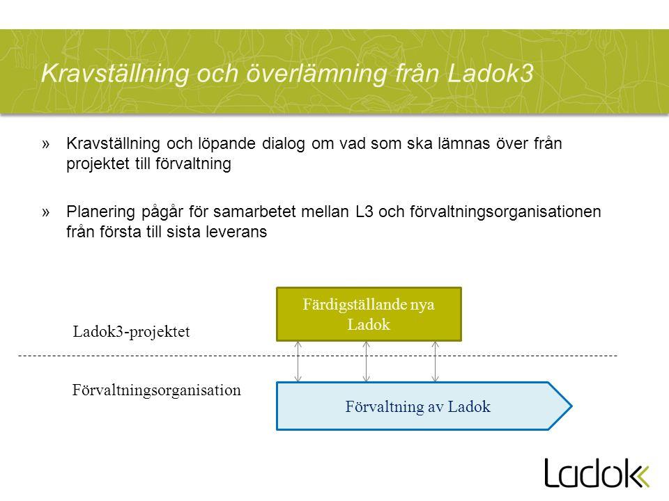 Kravställning och överlämning från Ladok3 »Kravställning och löpande dialog om vad som ska lämnas över från projektet till förvaltning »Planering pågår för samarbetet mellan L3 och förvaltningsorganisationen från första till sista leverans Färdigställande nya Ladok Ladok3-projektet Förvaltningsorganisation Förvaltning av Ladok