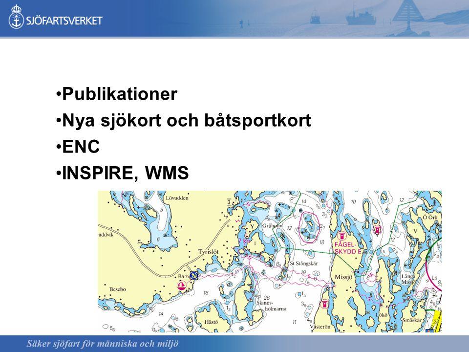 Publikationer Nya sjökort och båtsportkort ENC INSPIRE, WMS