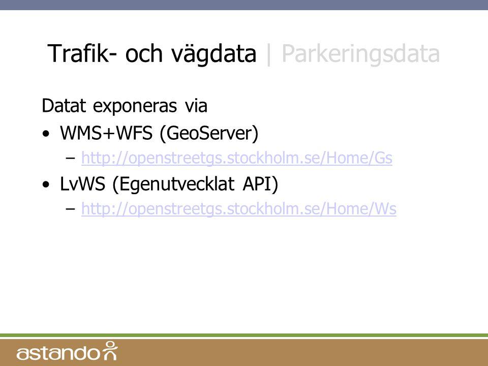 Trafik- och vägdata | Parkeringsdata Datat exponeras via WMS+WFS (GeoServer) –http://openstreetgs.stockholm.se/Home/Gshttp://openstreetgs.stockholm.se/Home/Gs LvWS (Egenutvecklat API) –http://openstreetgs.stockholm.se/Home/Wshttp://openstreetgs.stockholm.se/Home/Ws