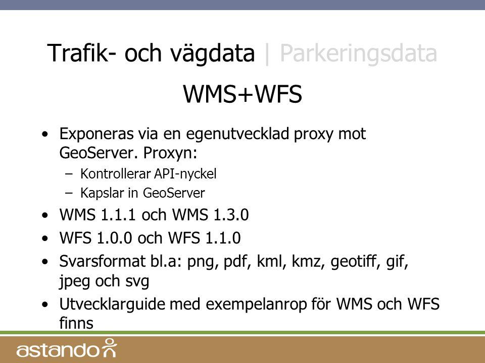 Trafik- och vägdata | Parkeringsdata Exponeras via en egenutvecklad proxy mot GeoServer.
