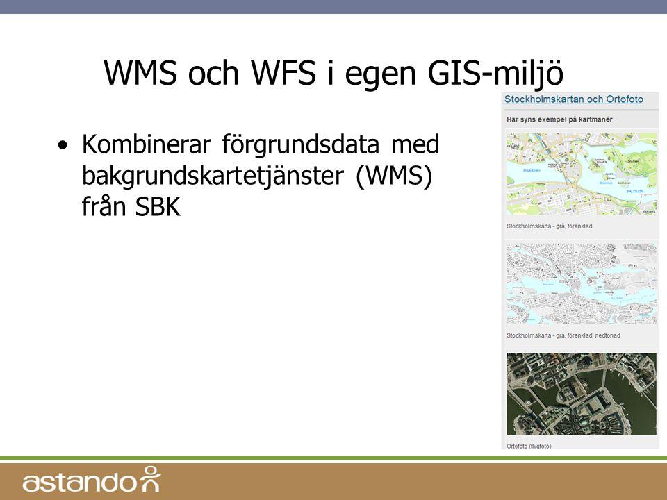 WMS och WFS i egen GIS-miljö Kombinerar förgrundsdata med bakgrundskartetjänster (WMS) från SBK