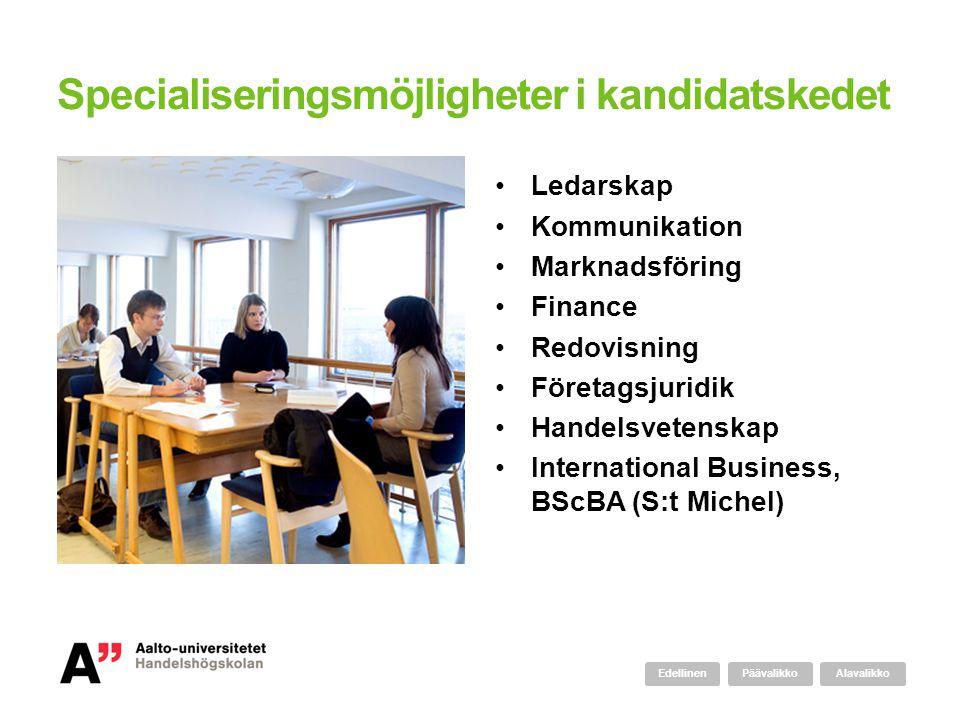 Specialiseringsmöjligheter i kandidatskedet Ledarskap Kommunikation Marknadsföring Finance Redovisning Företagsjuridik Handelsvetenskap International
