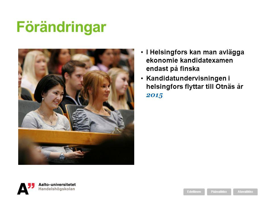 Förändringar I Helsingfors kan man avlägga ekonomie kandidatexamen endast på finska Kandidatundervisningen i helsingfors flyttar till Otnäs år 2015 AlavalikkoPäävalikkoEdellinen