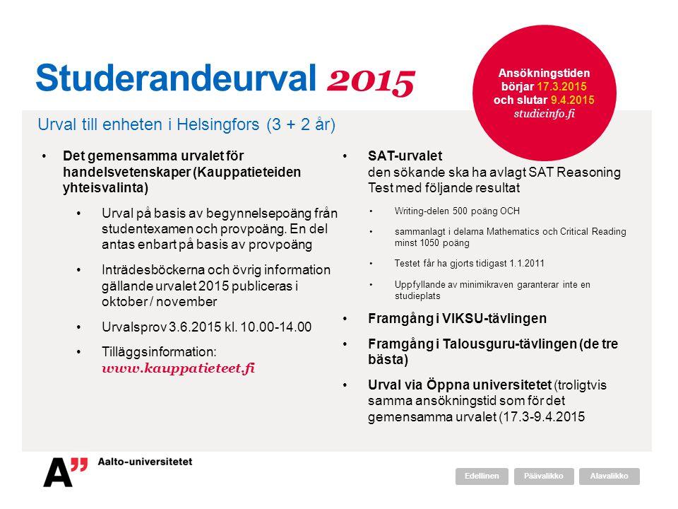 Studerandeurval 2015 Det gemensamma urvalet för handelsvetenskaper (Kauppatieteiden yhteisvalinta) Urval på basis av begynnelsepoäng från studentexamen och provpoäng.