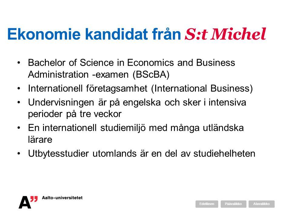 Ekonomie kandidat från S:t Michel Bachelor of Science in Economics and Business Administration -examen (BScBA) Internationell företagsamhet (International Business) Undervisningen är på engelska och sker i intensiva perioder på tre veckor En internationell studiemiljö med många utländska lärare Utbytesstudier utomlands är en del av studiehelheten AlavalikkoPäävalikkoEdellinen