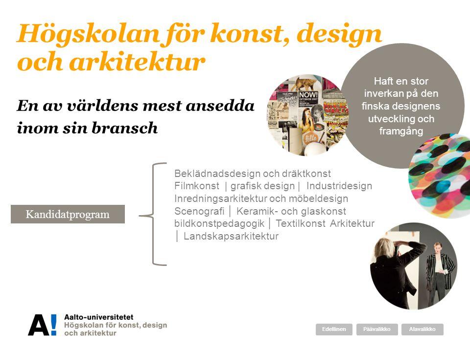 Haft en stor inverkan på den finska designens utveckling och framgång Högskolan för konst, design och arkitektur Beklädnadsdesign och dräktkonst Filmk