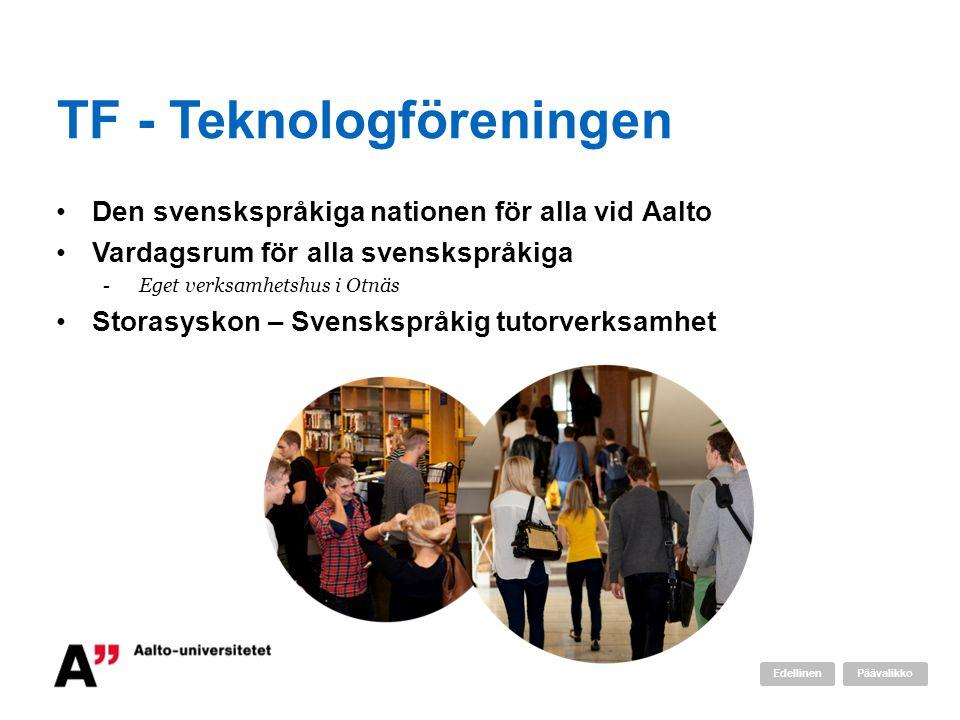 TF - Teknologföreningen Den svenskspråkiga nationen för alla vid Aalto Vardagsrum för alla svenskspråkiga -Eget verksamhetshus i Otnäs Storasyskon – S