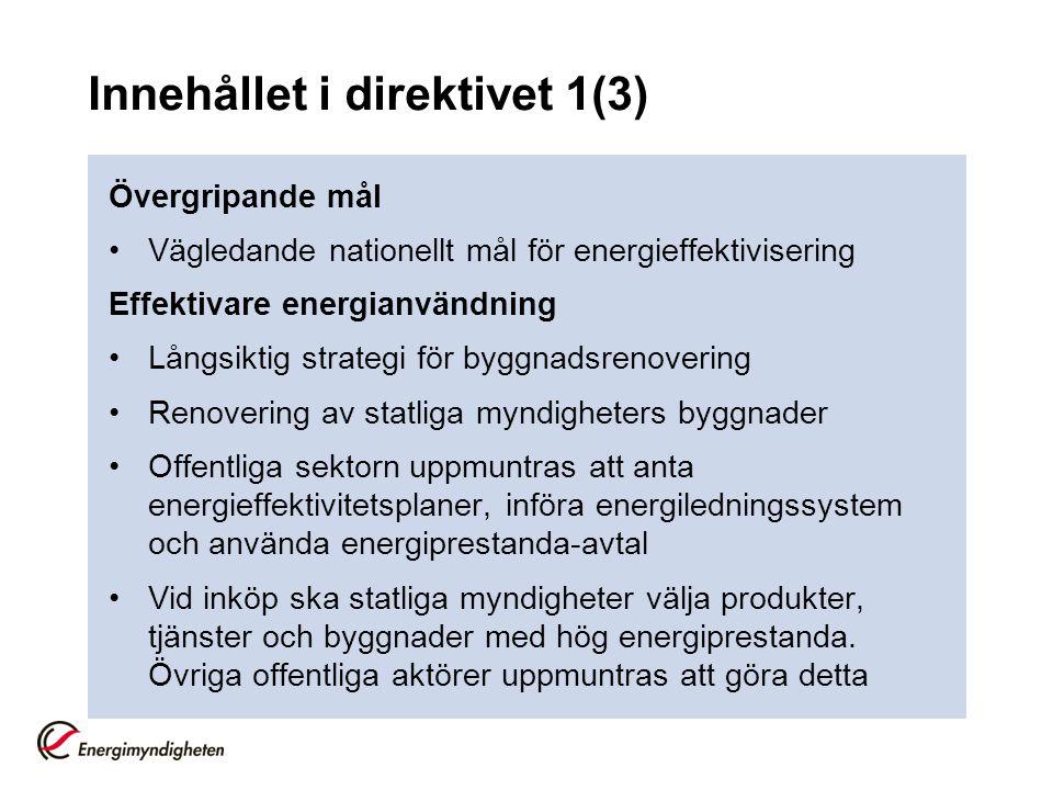 Innehållet i direktivet 1(3) Övergripande mål Vägledande nationellt mål för energieffektivisering Effektivare energianvändning Långsiktig strategi för byggnadsrenovering Renovering av statliga myndigheters byggnader Offentliga sektorn uppmuntras att anta energieffektivitetsplaner, införa energiledningssystem och använda energiprestanda-avtal Vid inköp ska statliga myndigheter välja produkter, tjänster och byggnader med hög energiprestanda.