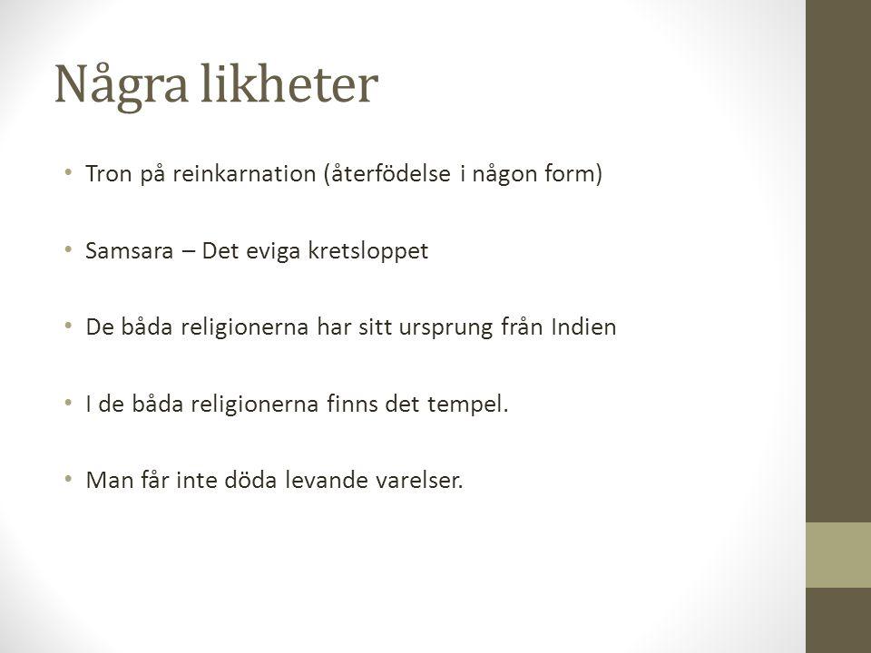 Några likheter Tron på reinkarnation (återfödelse i någon form) Samsara – Det eviga kretsloppet De båda religionerna har sitt ursprung från Indien I d