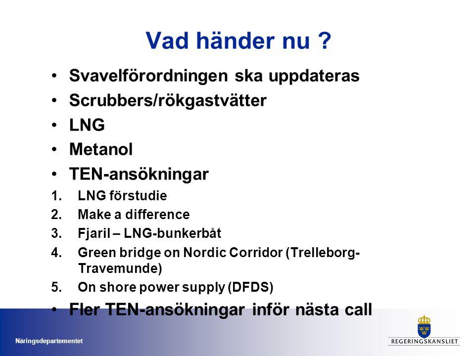 Näringsdepartementet Vad händer nu ? Svavelförordningen ska uppdateras Scrubbers/rökgastvätter LNG Metanol TEN-ansökningar 1.LNG förstudie 2.Make a di