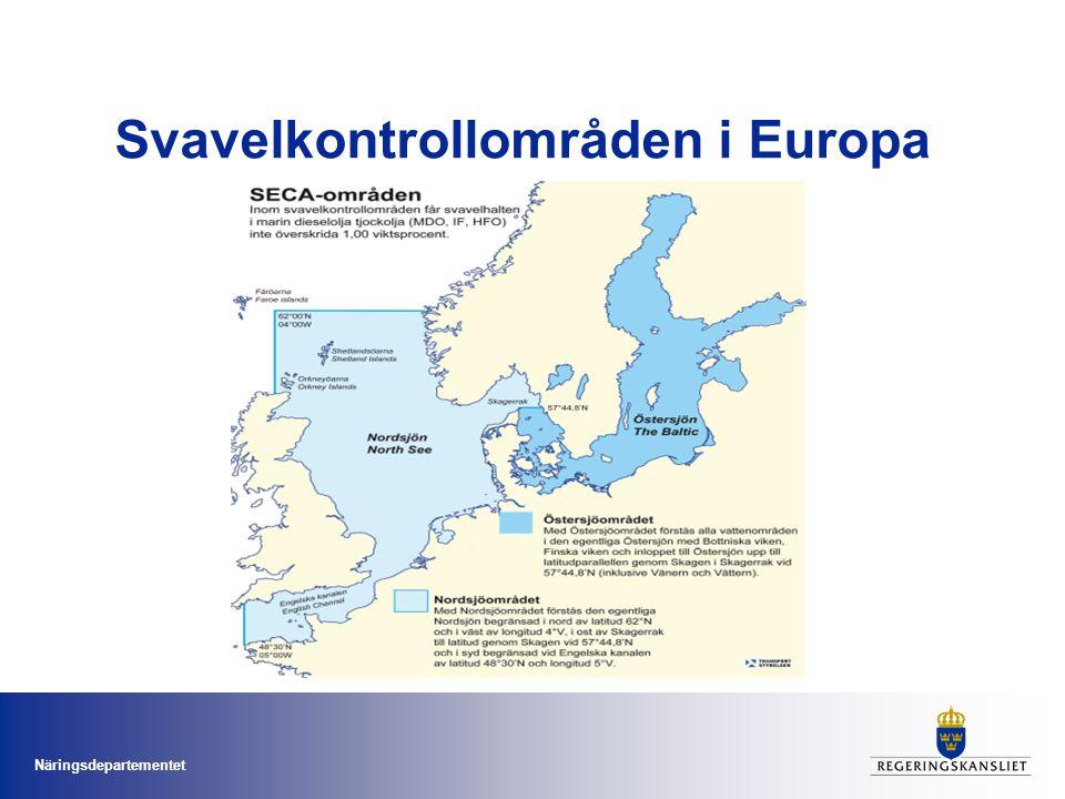 Näringsdepartementet Svavelkontrollområden i Europa