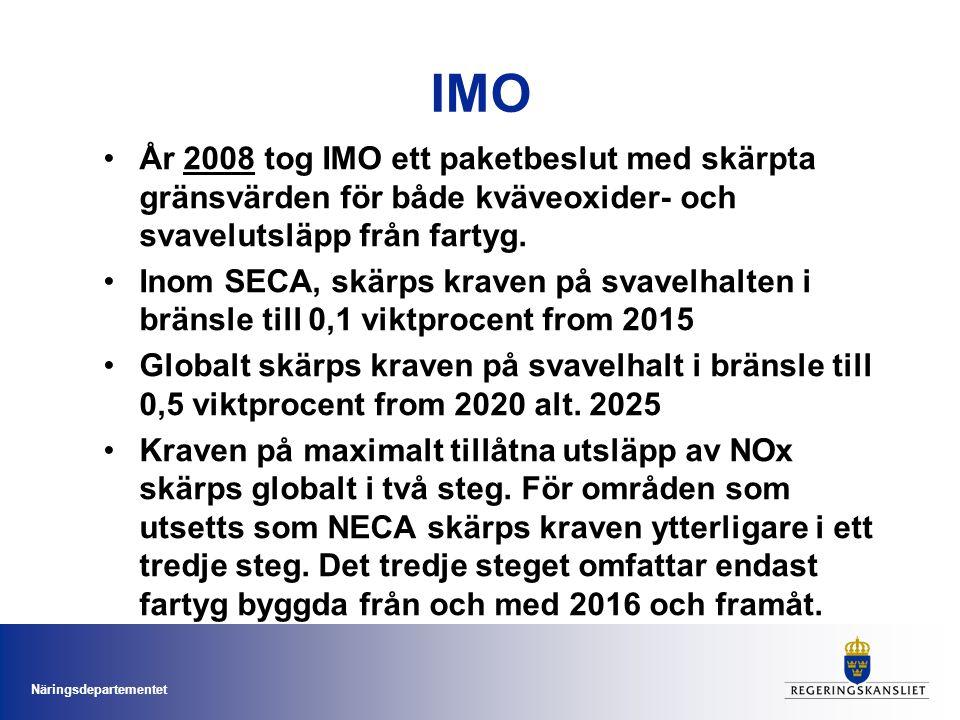 Näringsdepartementet IMO År 2008 tog IMO ett paketbeslut med skärpta gränsvärden för både kväveoxider- och svavelutsläpp från fartyg. Inom SECA, skärp