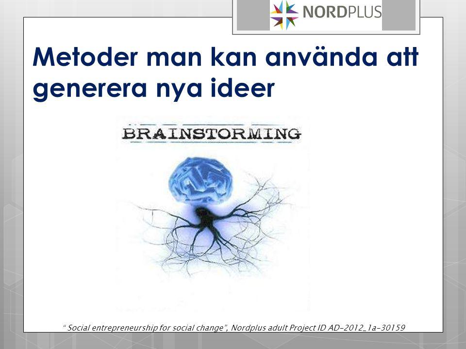 Metoder man kan använda att generera nya ideer Social entrepreneurship for social change , Nordplus adult Project ID AD-2012_1a-30159