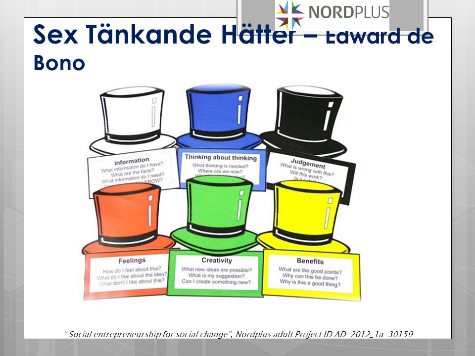 "Sex Tänkande Hätter – Edward de Bono "" Social entrepreneurship for social change"", Nordplus adult Project ID AD-2012_1a-30159"