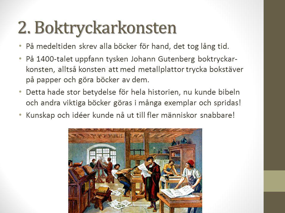 På medeltiden skrev alla böcker för hand, det tog lång tid. På 1400-talet uppfann tysken Johann Gutenberg boktryckar- konsten, alltså konsten att med