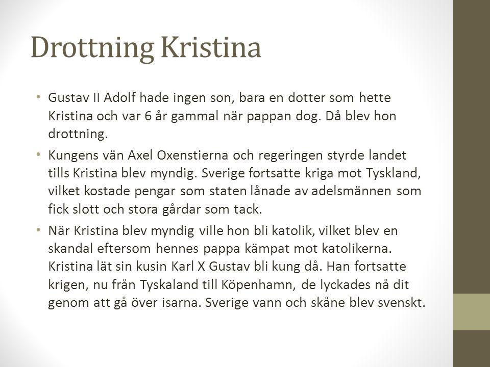 Drottning Kristina Gustav II Adolf hade ingen son, bara en dotter som hette Kristina och var 6 år gammal när pappan dog. Då blev hon drottning. Kungen