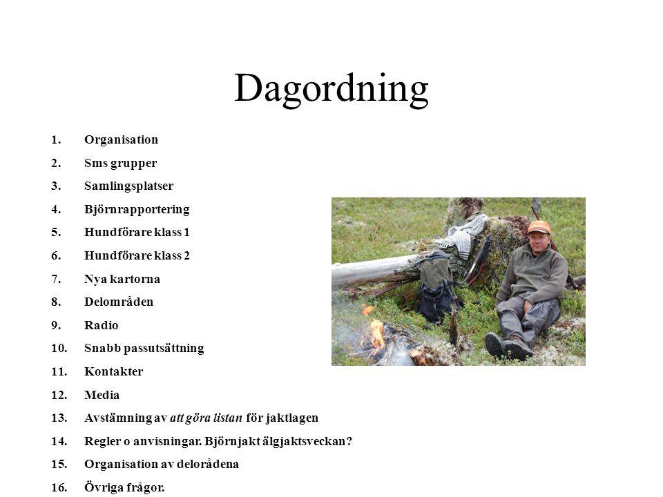 Organisation vid obs el dylikt Samordnings jaktledare Hundförare Klass 1 Jaktledare Sms obs Sms samling Grupp sms