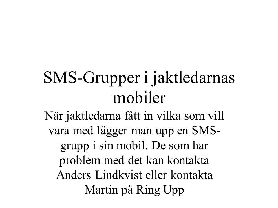SMS-Grupper i jaktledarnas mobiler När jaktledarna fått in vilka som vill vara med lägger man upp en SMS- grupp i sin mobil.