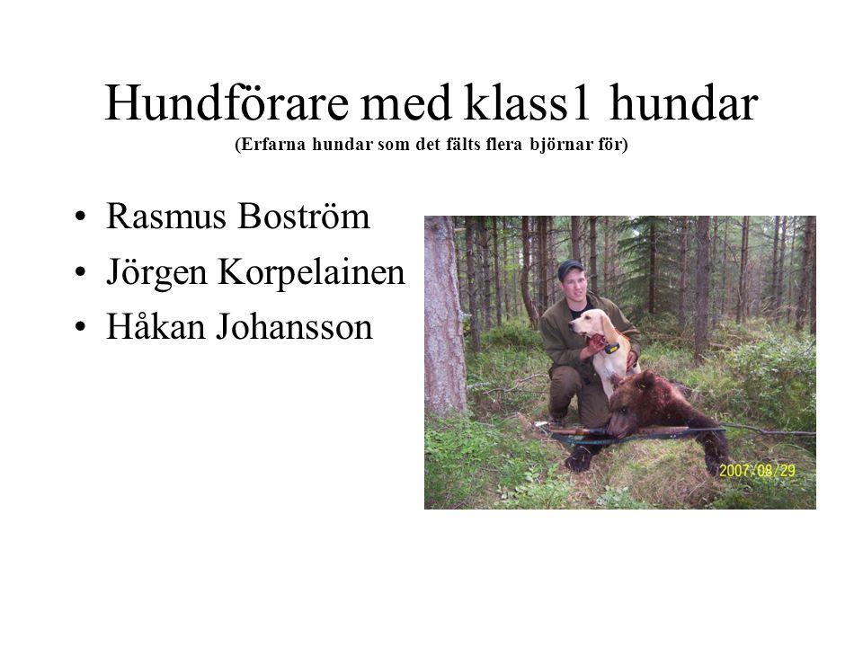 Hundförare med klass1 hundar (Erfarna hundar som det fälts flera björnar för) Rasmus Boström Jörgen Korpelainen Håkan Johansson