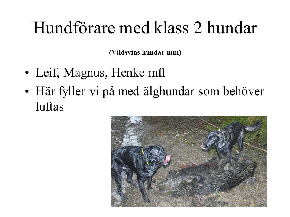 Hundförare med klass 2 hundar (Vildsvins hundar mm) Leif, Magnus, Henke mfl Här fyller vi på med älghundar som behöver luftas