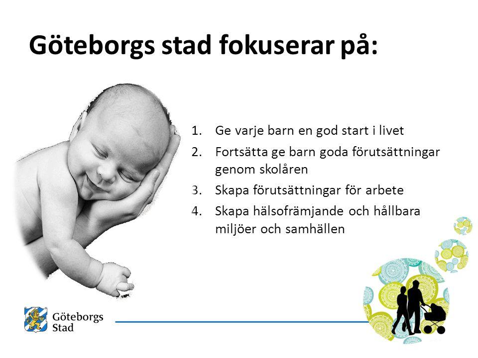 1.Ge varje barn en god start i livet 2.Fortsätta ge barn goda förutsättningar genom skolåren 3.Skapa förutsättningar för arbete 4.Skapa hälsofrämjande och hållbara miljöer och samhällen Göteborgs stad fokuserar på: