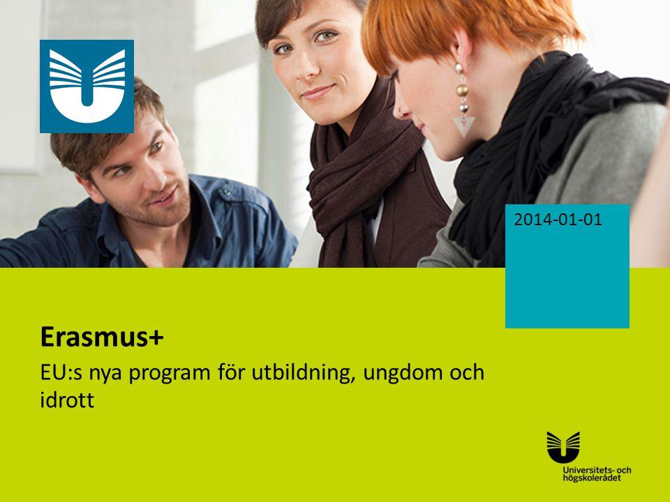 Sv Erasmus+ EU:s nya program för utbildning, ungdom och idrott 2014-01-01