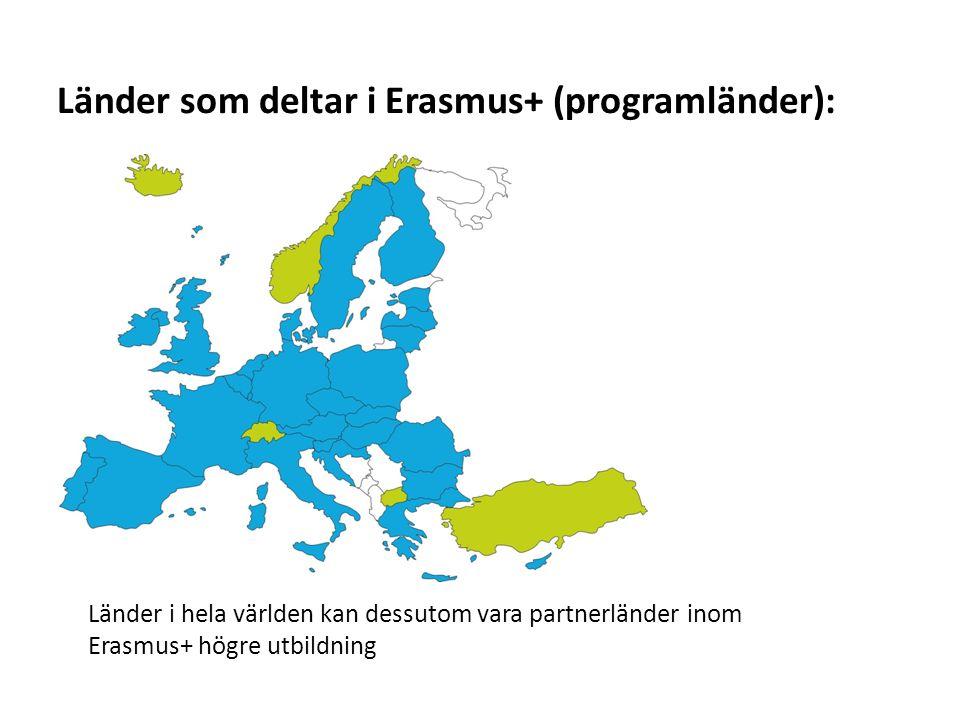 Sv Länder som deltar i Erasmus+ (programländer): Länder i hela världen kan dessutom vara partnerländer inom Erasmus+ högre utbildning