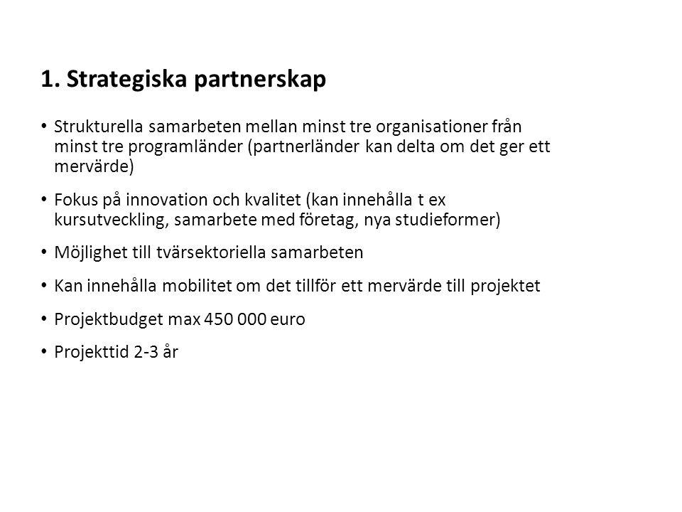 Sv Strukturella samarbeten mellan minst tre organisationer från minst tre programländer (partnerländer kan delta om det ger ett mervärde) Fokus på innovation och kvalitet (kan innehålla t ex kursutveckling, samarbete med företag, nya studieformer) Möjlighet till tvärsektoriella samarbeten Kan innehålla mobilitet om det tillför ett mervärde till projektet Projektbudget max 450 000 euro Projekttid 2-3 år 1.