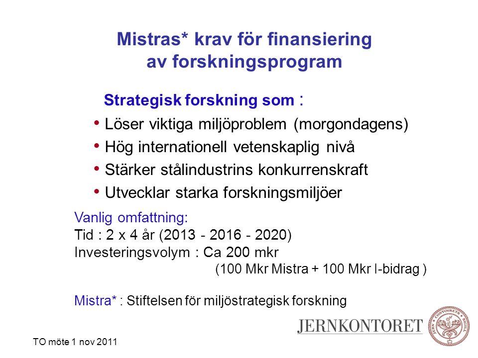 Mistras* krav för finansiering av forskningsprogram Strategisk forskning som : Löser viktiga miljöproblem (morgondagens) Hög internationell vetenskaplig nivå Stärker stålindustrins konkurrenskraft Utvecklar starka forskningsmiljöer Vanlig omfattning: Tid : 2 x 4 år (2013 - 2016 - 2020) Investeringsvolym : Ca 200 mkr (100 Mkr Mistra + 100 Mkr I-bidrag ) Mistra* : Stiftelsen för miljöstrategisk forskning TO möte 1 nov 2011