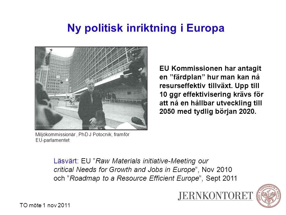 Ny politisk inriktning i Europa TO möte 1 nov 2011 EU Kommissionen har antagit en färdplan hur man kan nå resurseffektiv tillväxt.