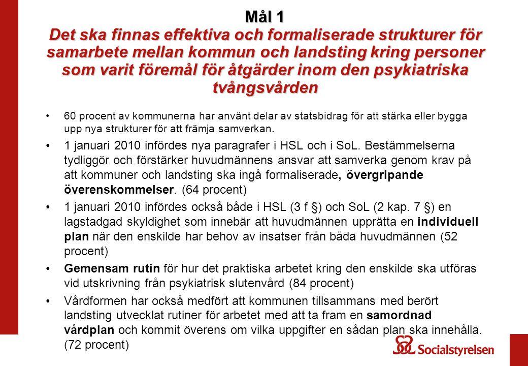 Mål 1 Det ska finnas effektiva och formaliserade strukturer för samarbete mellan kommun och landsting kring personer som varit föremål för åtgärder in
