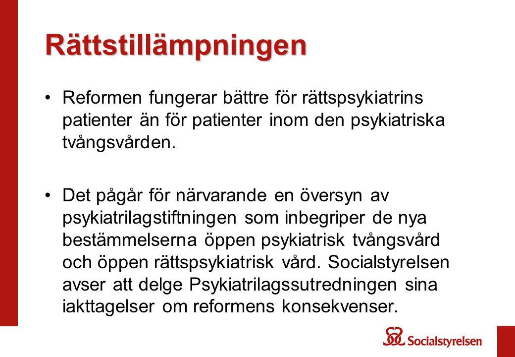 Rättstillämpningen Reformen fungerar bättre för rättspsykiatrins patienter än för patienter inom den psykiatriska tvångsvården. Det pågår för närvaran