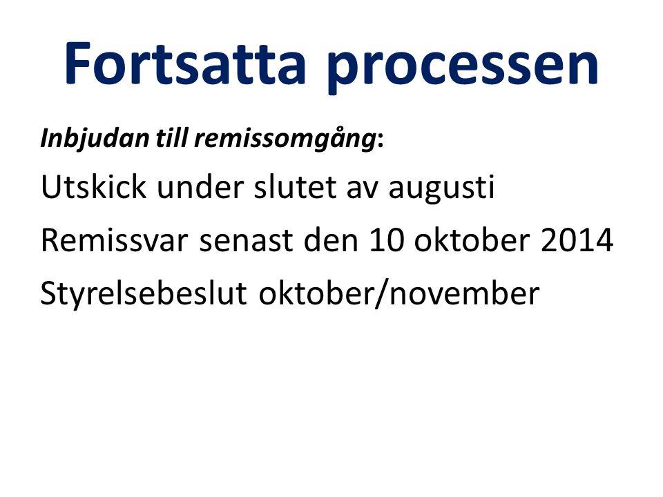 Fortsatta processen Inbjudan till remissomgång: Utskick under slutet av augusti Remissvar senast den 10 oktober 2014 Styrelsebeslut oktober/november