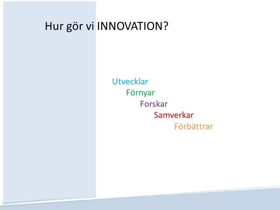 Utvecklar Förnyar Forskar Samverkar Förbättrar Hur gör vi INNOVATION?